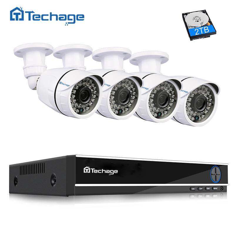 Techage 4CH 1080 p AHD DVR Kit CCTV Kamera System 4 stücke Outdoor Home Security 1080 p 2MP Kamera P2P video Überwachung System Set