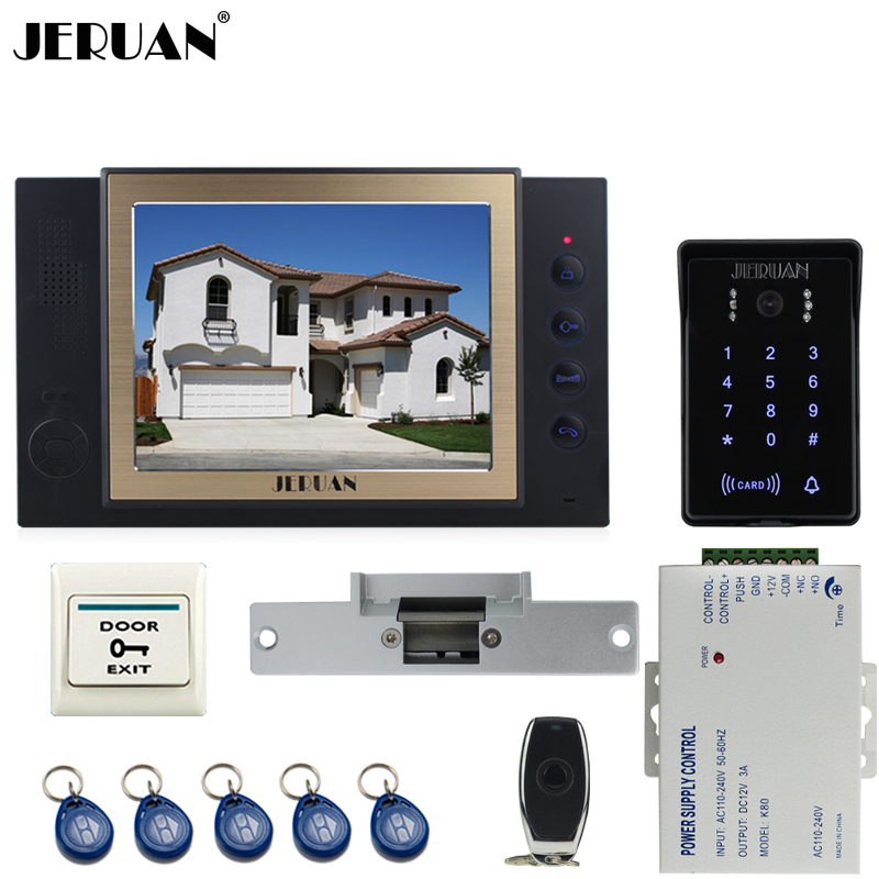 JERUAN New RFID waterproof Touch Key password keypad Camera Home Wired 8 inch TFT video door phone Record intercom system kit
