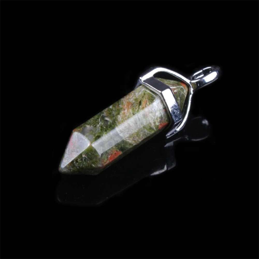 六角柱天然水晶石の魅力ペンダントオパールユナカイトネックレス Amethyste 振り子女性の Diy のジュエリーホット販売