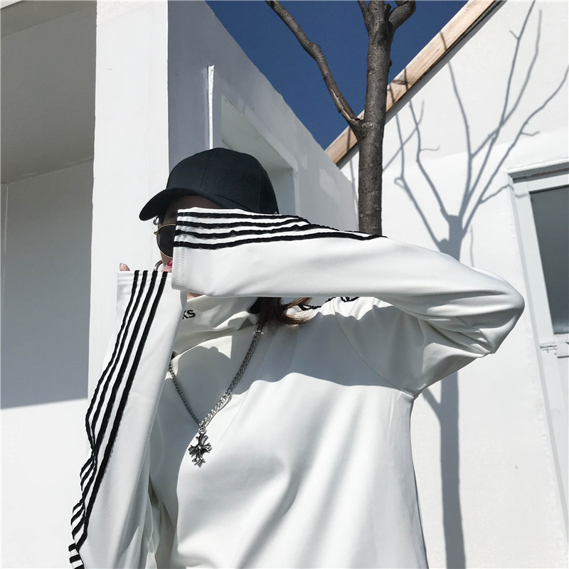 T-shirts Women Long Sleeve Turtleneck Striped Letter Embroidery Harajuku Womens Loose T-shirt Trendy Chic Korean Style All-match 17