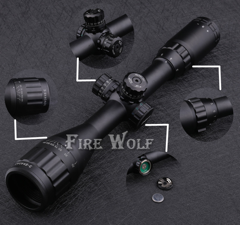 Tactical  LEAPERS 3-9X40 AO Riflescope Optical Sight Full Size Mil Dot Red Green Blue llluminate Hunting Rifle Scope kandar 4 16x40 aoe mil dot reticle riflescope locking resetting full size hunting rifle scope tactical optical sight