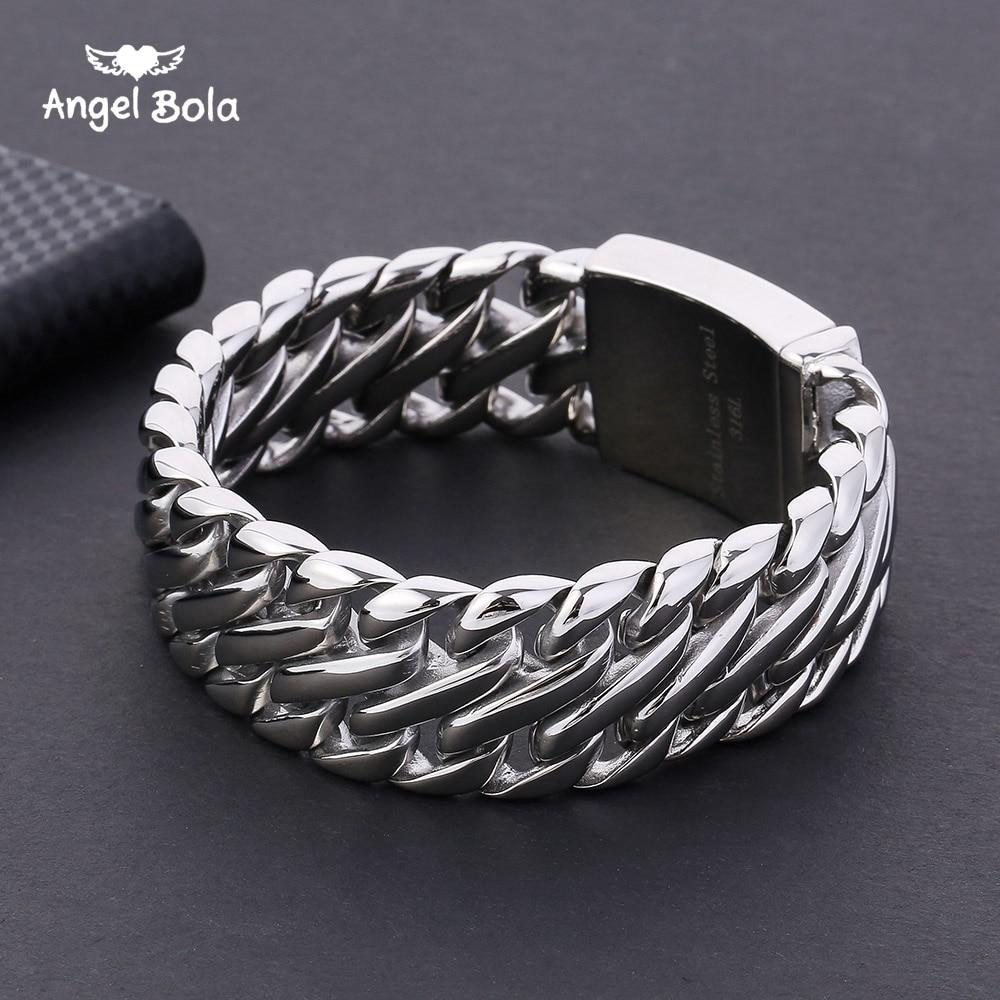 Bouddha Bracelet avec Logo Double Curb Cubain Chaîne Bracelet Hommes 316L En Acier Inoxydable Bracelet Bracelet Ton Argent 23mm