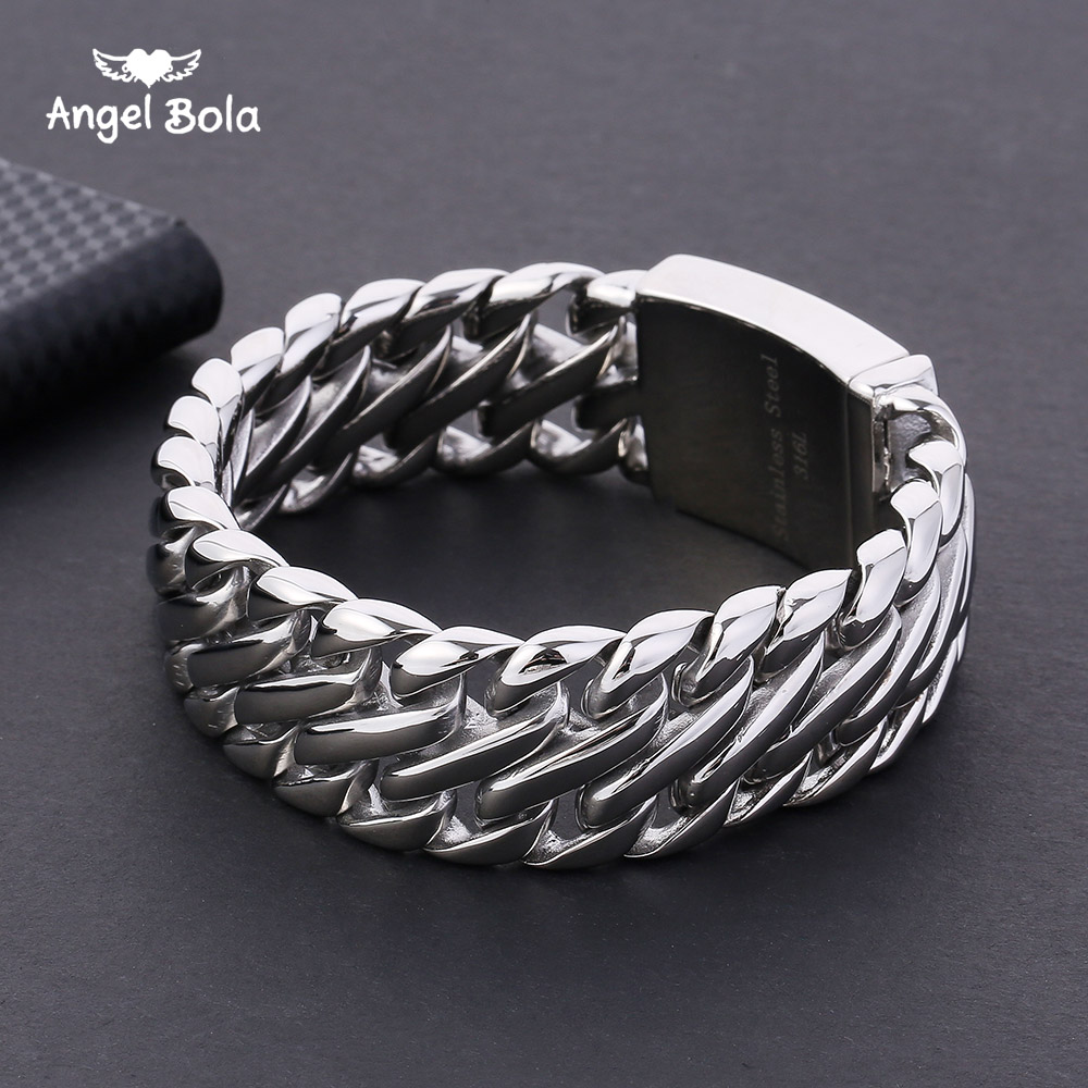 Buddha Bracelet with Logo Double Curb Cuban Chain Bracelet Mens 316L Stainless Steel Wristband Bangle Silver Tone 23mm 20mm heavy jewelry 316l stainless steel silver gold black cuban curb chain mens bracelet bangle 8 5 high quality male wristband