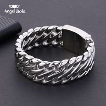 Buddha Bracelet with Logo Double Curb Cuban Chain Bracelet Mens 316L Stainless Steel Wristband Bangle Silver color Tone 23mm