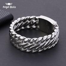 Pulseira de aço inoxidável dos homens 316l pulseira de prata tom cor 23mm pulseira de buda com logotipo duplo curb cubana chain pulseira
