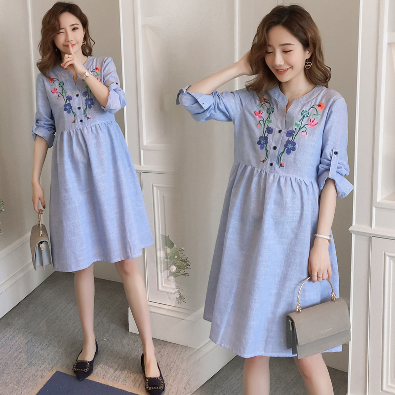 1901 Floral Embroidery Maternity Blouses Dress 2019 Spring Fashion Clothes for Pregnant Women V neck Loose Pregnancy Clothing in Dresses from Mother Kids