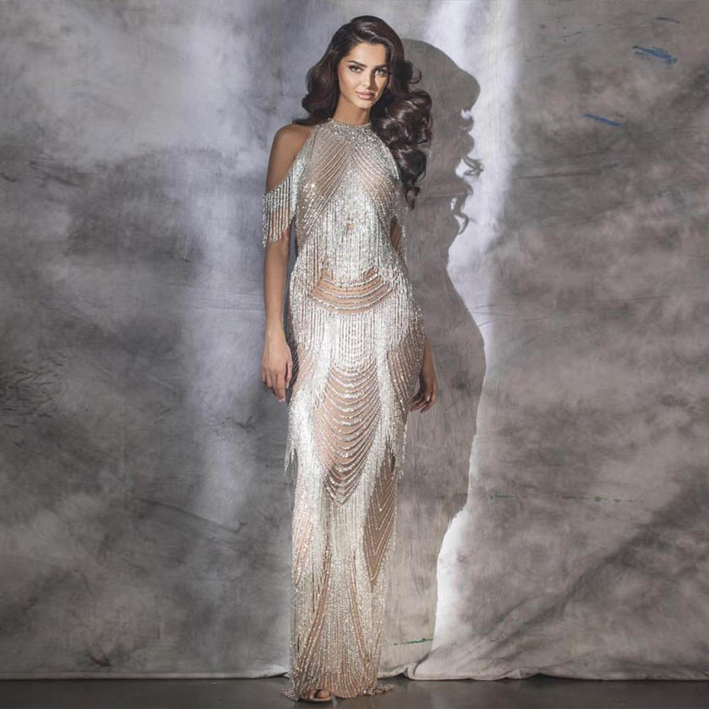 Robe De Soiree Nude Tassel Evening Dress Long Evening Gown Mermaid Formal Dresses Zipper Back