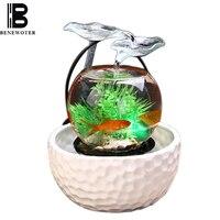 110/220V Ceramics Flowing Water Fountain Glass Fish Tank Office Desktop Humidifier Atomizer Essential Oil Diffuser Wedding Decor