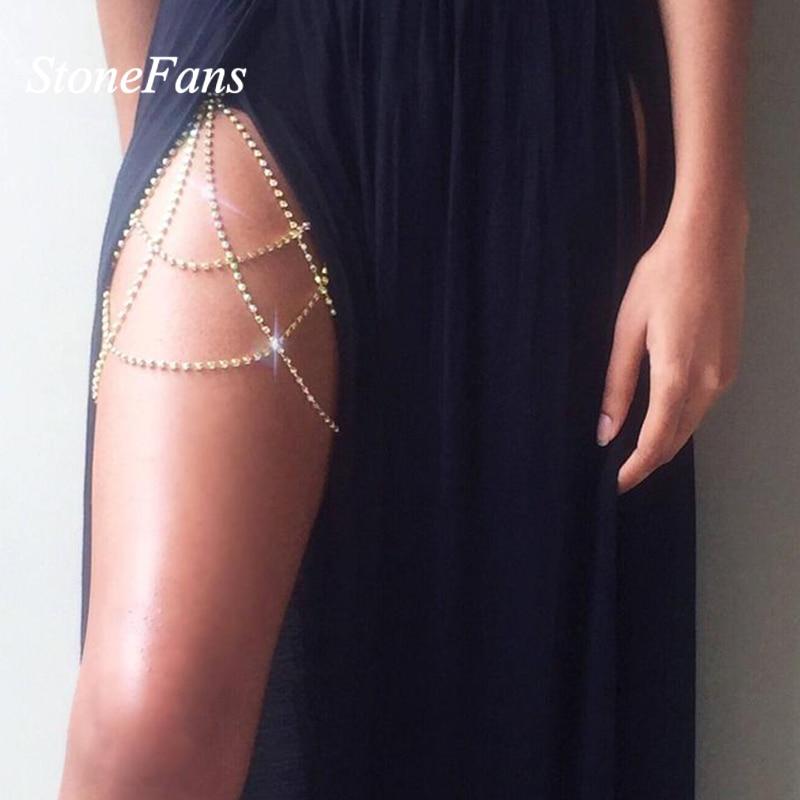 StoneFans Crystal Body Thigh Chain Garter Jewelry Shiny Lingerie Women Rhinestone Body Jewelry Leg Thigh Chain Gift for Her 1
