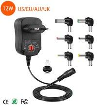 12 ワット AC DC ユニバーサルアダプター調節可能な電源アダプタ 3v 4.5v 5v 6v 7.5v 9v 12v 1A 充電器 6 個接続ヒント