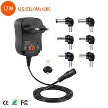 12W AC DC Universal Adaptor Adjustable Power Adapter 3v 4.5v 5v 6v 7.5v 9v 12v 1A charger with 6 pieces connection tips(China)