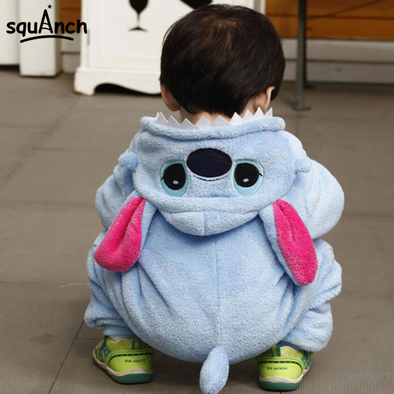 Stitch Kigurumi Baby Bodysuit Warm Soft Flannel Blue Pajama Onesie Cartoon Anime Cosplay Costume Birthday Gift Party Suit Fancy