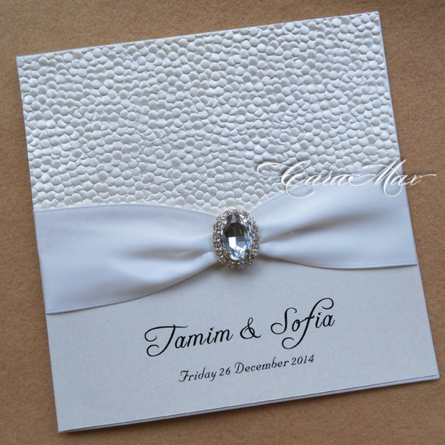 Ca0692 Embossed Pebble Pearlescent Paper Wedding Invitation Cards In