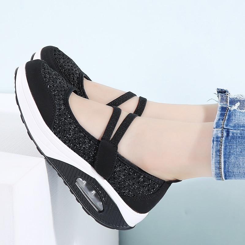 Image 5 - STQ 2020 Autumn Women Flats Platform Shoes Women Breathable Mesh Casual Shoes Female Platform Sneakers Shoes Ladies Shoes TF8023Womens Flats   -