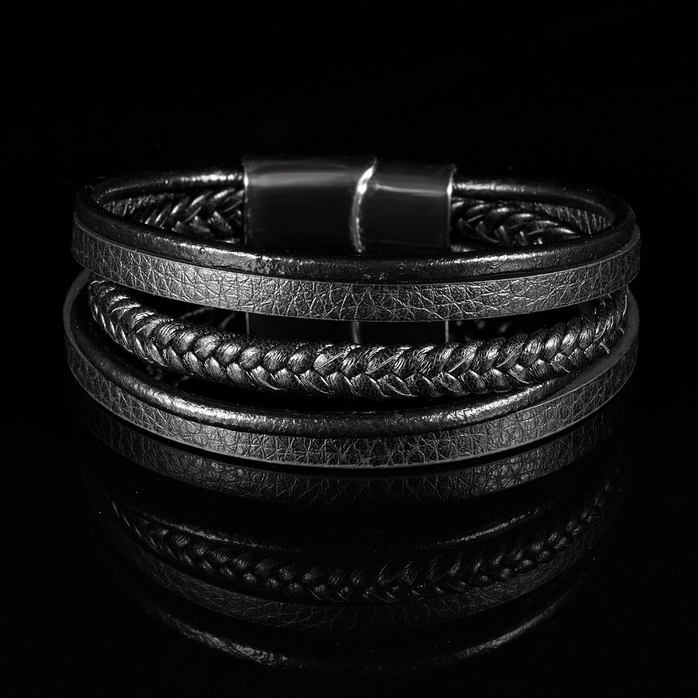RINHOO Fashion Stainless Steel Bracelets Chain Genuine Leather Vintage Punk Male Braid Jewelry Bracelet for Men Women