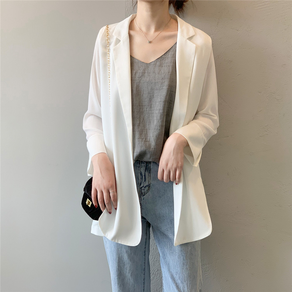 Summer Women Office Thin Suit 2019 Small Long Sleeve Chiffon Suit Jacket Women`s Autumn Work Blazer Suit All Match Suit Y0506 (24)
