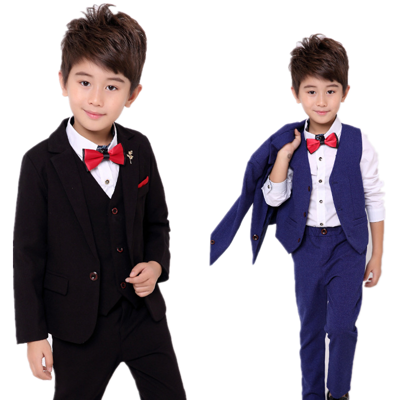 School Boys Suits For Weddings Dress Kids Prom Gentleman Party Jacket Vest Pants Tuxedo Clothing Set Child Formal Costume B047