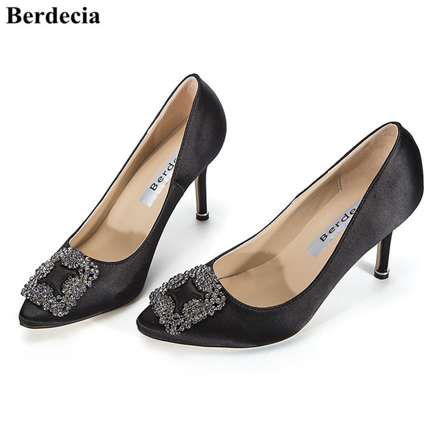 bef4c935f9b Berdecia Brand Classic Slip On Jeweled Pointed Toe High Heels Dress Shoes  Crystal Embellished Satin Pumps Wedding Shoes Women