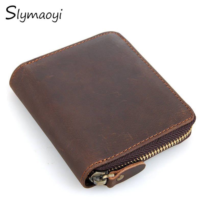 Genuine Crazy Horse Cowhide Leather Men Wallet Short Coin Purse Brand High Quality Vintage Designer Man Clutch Card Holder Bags 2017 genuine cowhide leather brand women wallet short design lady small coin purse mini clutch cartera high quality