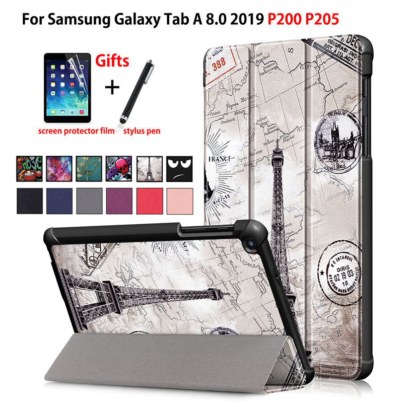 Case For <font><b>samsung</b></font> galaxy tab A 8.0 2019 with S Pen 8.0 SM-P200 P200 <font><b>P205</b></font> P207 Cover Funda Slim Magnetic Folding Stand Shell +gift image