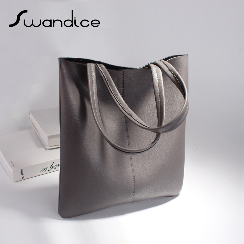 2019 Women Genuine Leather Simple Casual Soft Handbags Solid Color Messenger Crossbody Tote Shoulder Bags Big