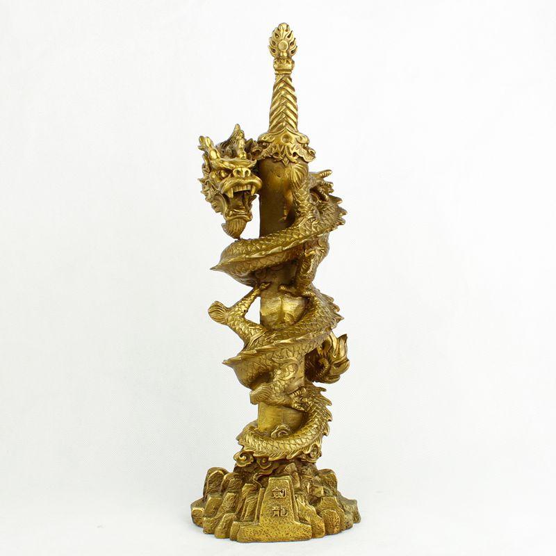 Dragon de cuivre une décoration à double tranchant épée Brisk affaires fleurissent dragon chinois géomancie classique statue artisanat figurine.