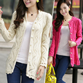 Spring Hitz Slim V-neck sweater hollow pearl button sweater knit cardigan  and long sections sweater cardigan Women