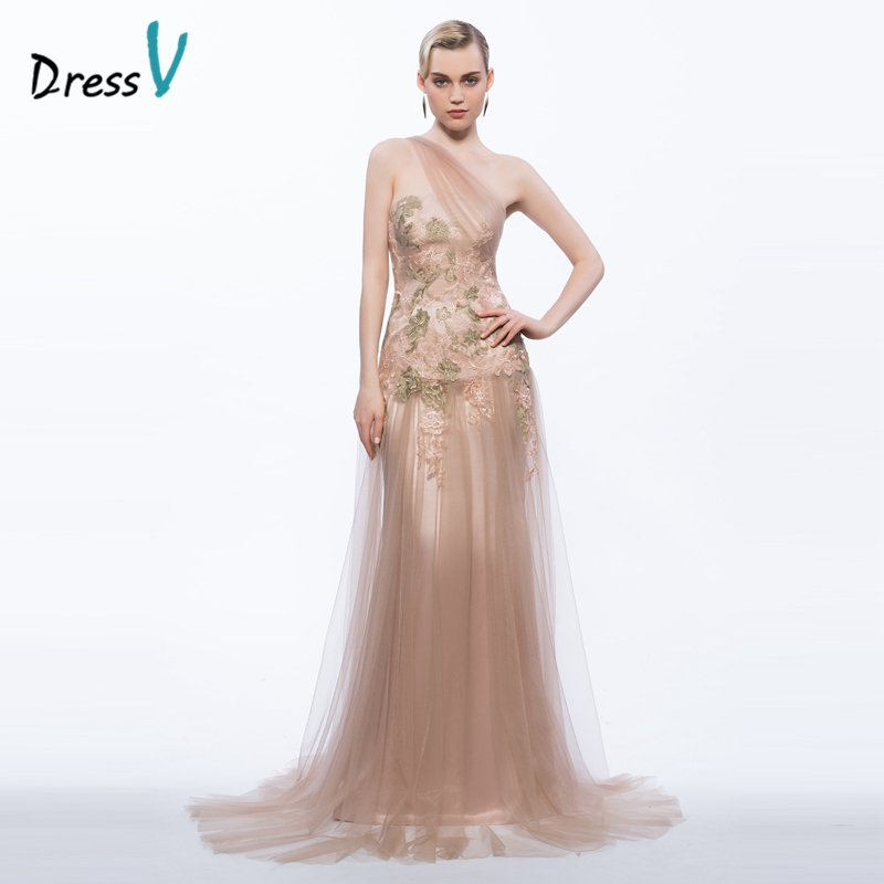 Dressv 2017 one shoulder long evening dress appliques sheath column zipper up formal party dress elegant