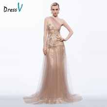 Dressv 2017 one shoulder long evening dress appliques sheath&column zipper up formal party dress elegant tulle evening dress