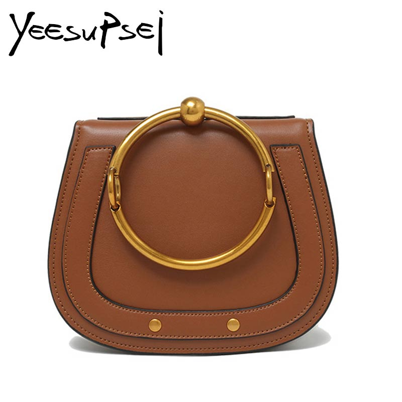 YeeSupSei Famous Brand Women Genuine Leather Handbag Luxury Designer Ring Handle Women Saddal Bag Vintage Lady Shoulder Purse luxury designer brand baroque royal handbag runway lady bag purse with handle