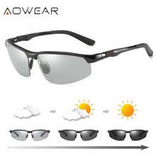 AOWEAR Camaleão Photochromic Óculos De Sol Dos Homens Da Marca do  Desenhador Polarizados Condução Óculos Óculos de Sol Masculino. 09de8034c9