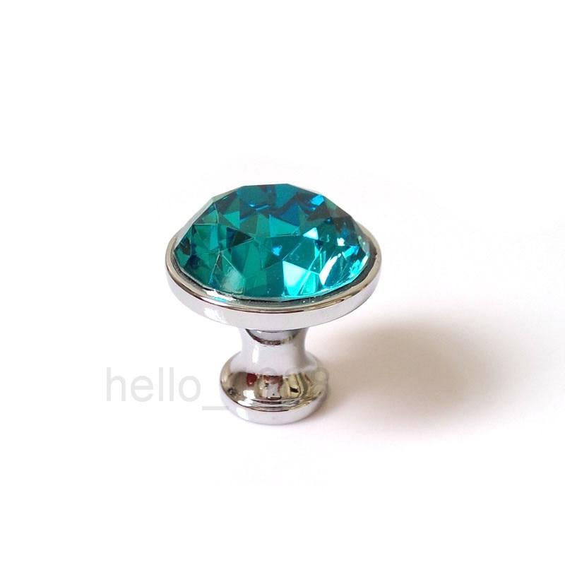 35mm lake blue crystal cabinet knob handle cupboard closet drawer knobs pulls diamond shiny kitchen pull