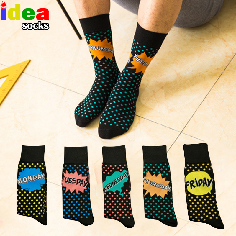 Colorful Dot happy mens socks big size winter seven days Mood cotton week socks lighting pattern skateboard compression socks