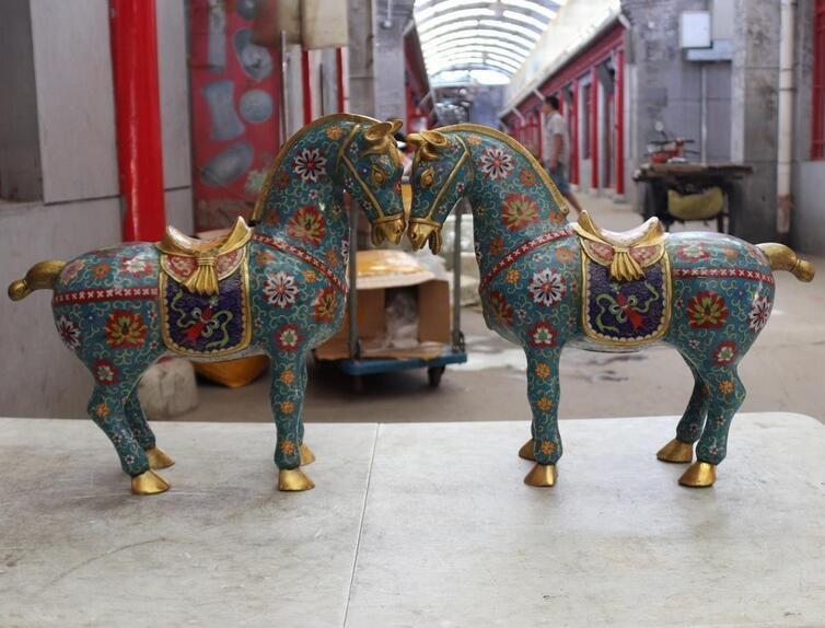45cm China Bronze Copper Cloisonne Palace Enamel Lucky Animal Horse Statue Pair