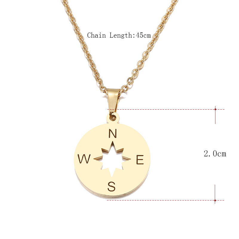 Hibobi Necklace Women Stainless Steel Jewelry Compass Trendy Necklaces Pendants Chain Donot Fade Valentine's Day Gift (4)