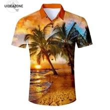 4d672dd3d Eur tamaño nueva marca hombres manga corta palmeras 3D camisas 2018 nueva  moda verano Hawaiano camisa Chemise Homme manche corte
