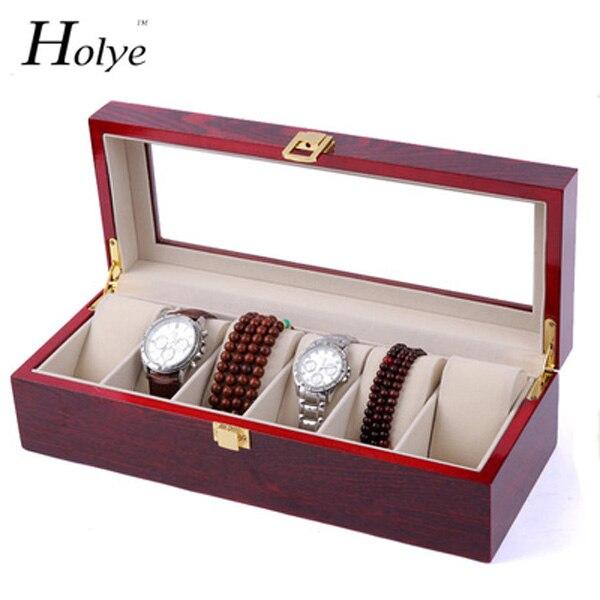 Montre en bois rouge mallette de rangement 6 grilles montres présentoir rouge laque bijoux boîtes de montre mode montre rangement coffrets cadeaux