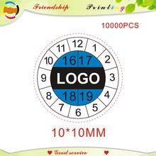 עיצוב משלוח חינם נייר שביר תוויות את אחריות מדבקות זמן תווית תווית הדפסת תווית אישית 10*10MM
