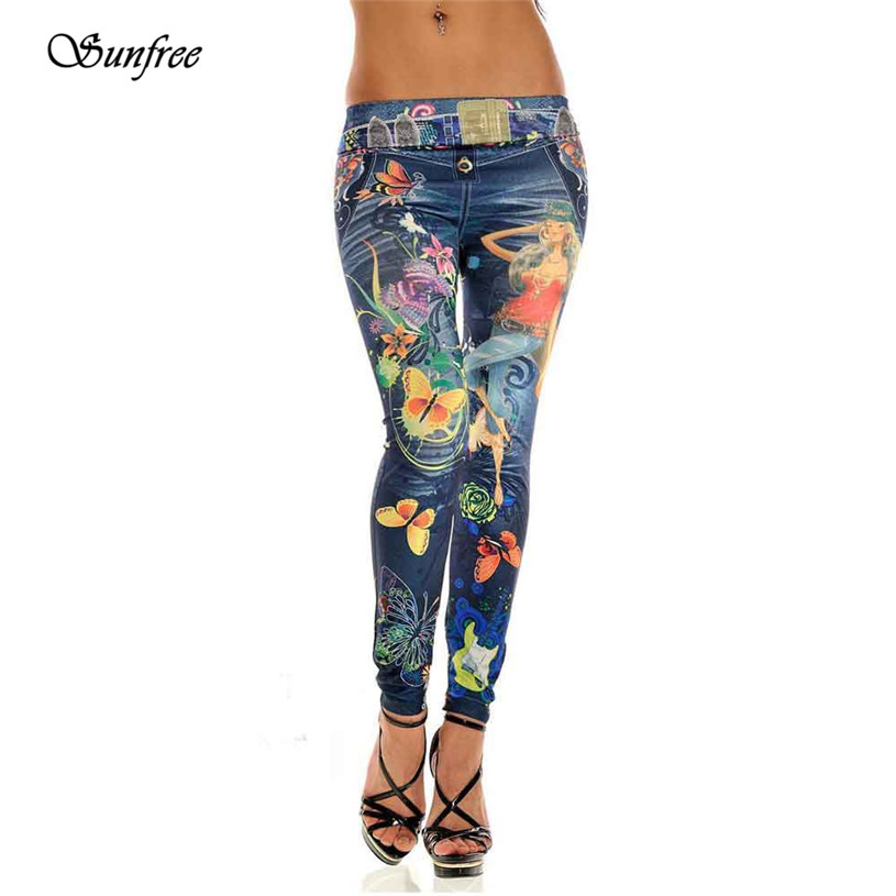 Sunfree 2016 New Sexy Womens Skinny Blue Jean Denim Leggings Stretchy Jeggings Pants Brand New High Quality Dec 6 lole леггинсы lsw1234 motion leggings m blue corn