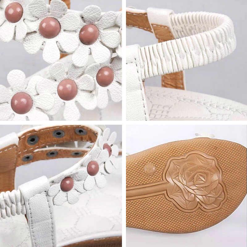 2ca697e5ffe ... Bohemian Flower Flip Flops Women Sandals 2018 Summer Flat Shoes Woman  Solid Casual Ladies Sandals Fashion