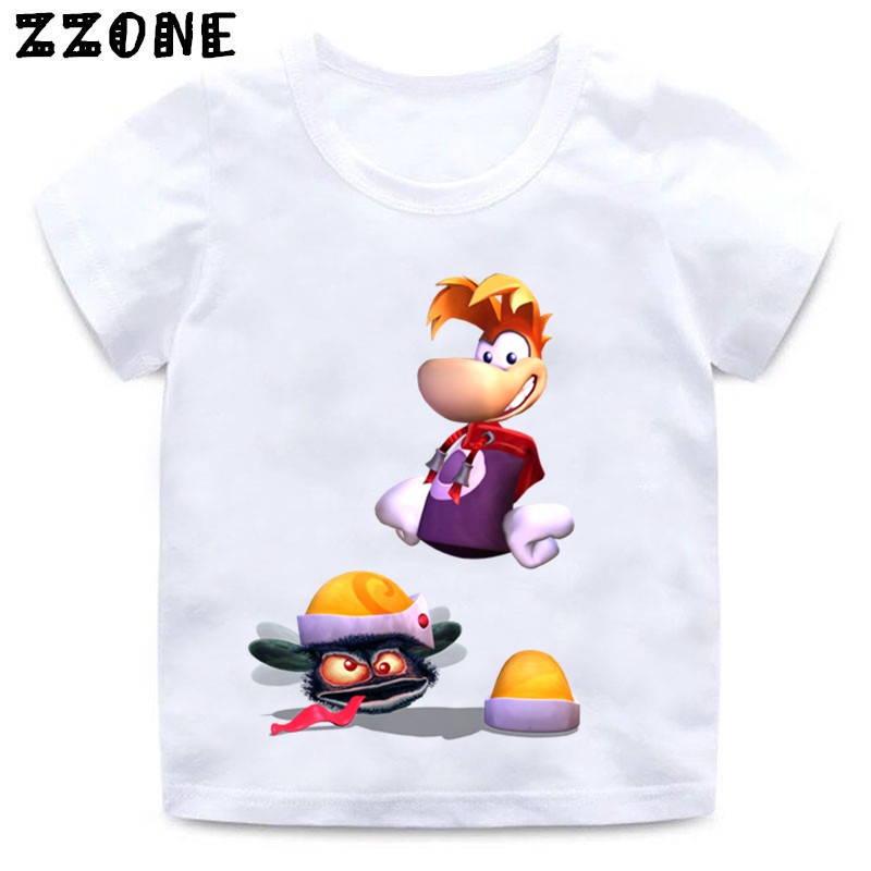 Boys and Girls Cartoon Rayman Legends Adventures Game Print T shirt Kids Funny Clothes Enfant Summer White T-shirt,HKP5204