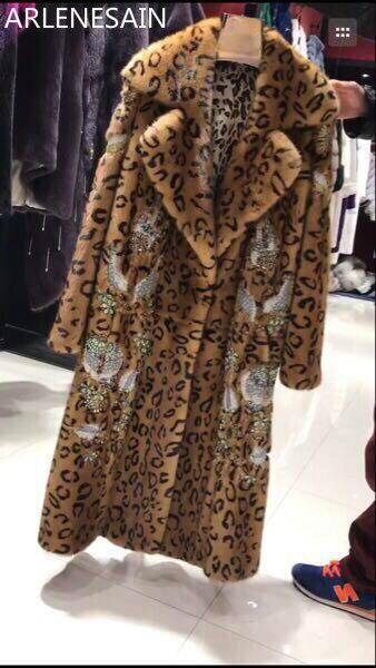 Vison Femmes Longue Manteau Léopard Perlé Tordu Costume Arlenesain Col De Camel Personnalisé Fourrure twqwFZf