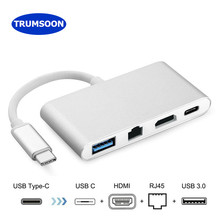 Trumsoon Type-C Thunderbolt 3 to HDMI Ethernet Gigabit Lan Adapter USB-C USB 3.0 Hub Converter for MacBook Samsung S8 Huawei P20(China)