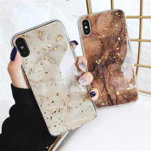 Luxury Foil Bling Marble Case For iPhone X 7 8 Cute TPU Cover Skin XR XS 6 6s Plus Glitter Fitted Cases