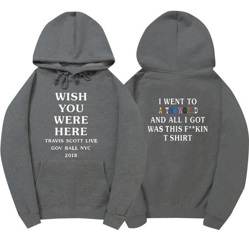 4042186ee37c Astroworld WISH YOU WERE HERE hoodies Travis Scott GOV BALL NYC 2018 letter  Hoodie streetwear Man woman Pullover Sweatshirt -in Hoodies & Sweatshirts  from ...