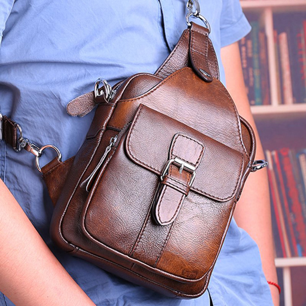 100% Real Cowhide Genuine Leather Men Messenger Cross Body Bag Male Travel Famous Single Shoulder Bags Rucksack Chest Day Pack