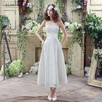 Modest Lace Bohemian Wedding Dress 2018 Robe De Mariage Tea Length Corset Back Bridal Gowns Custom Made