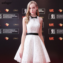 Elegant 2018 Halter Knee-Length With Bow Belt A-Line White Slevessless Zipper Back Real Photo Customized Fashionable New Arrival