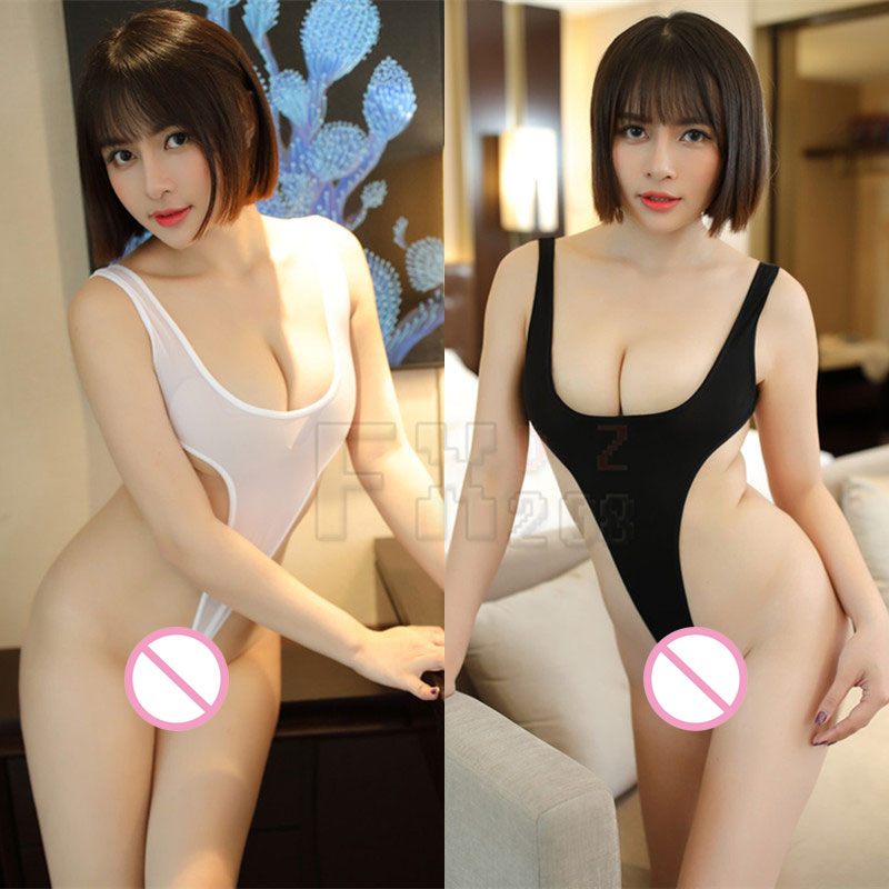 Sexy Women Thin Smooth Milk Ice Silk See Through High Cut Bodysuit Thong Transparent Erotic Thong Leotard F8