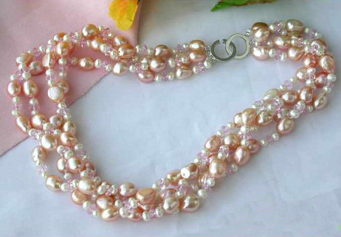 New Arriver Real Pearl Jewellery,4Row Pink Crystal Baroque Freshwater Cultured Pearl Necklace,Perfect Women Birthday GiftNew Arriver Real Pearl Jewellery,4Row Pink Crystal Baroque Freshwater Cultured Pearl Necklace,Perfect Women Birthday Gift